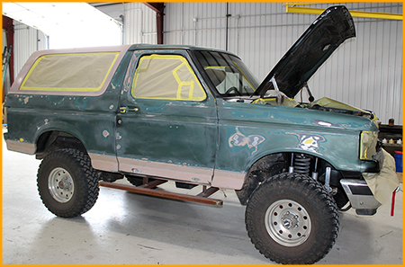 Exterior of Ford Bronco before installation of GatorHyde polyurea