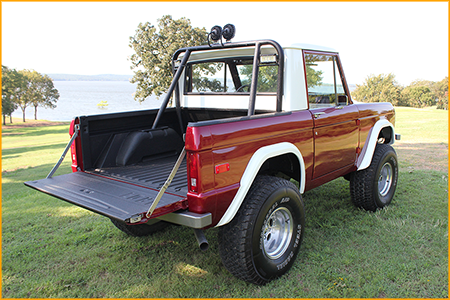 1970 Ford Bronco front frame, interior floor and bed sprayed with GatorHyde polyurea