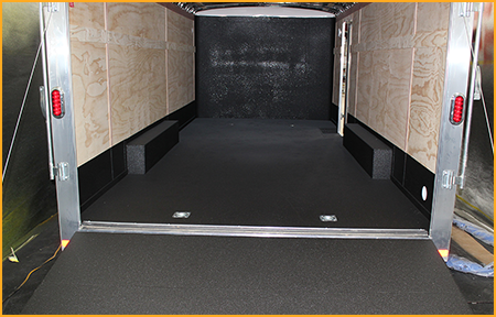 Interior of 20 foot box trailer with GatorHyde lining