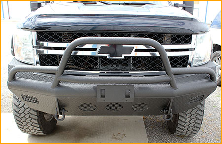 Front bumper and pushbar of Chevy truck sprayed with polyurea protective coating