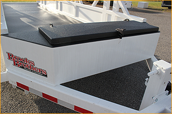 Powerline cable trailer hatch and front step lined with GatorHyde