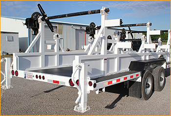 Powerline cable trailer bed lined with GatorHyde